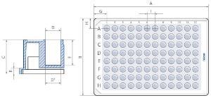 Microplaca de almacenamiento de 96 pocillos, pocillos redondos con fondo en V, Falcon®