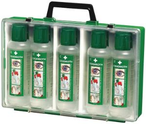 Eyewash solutions in portable case